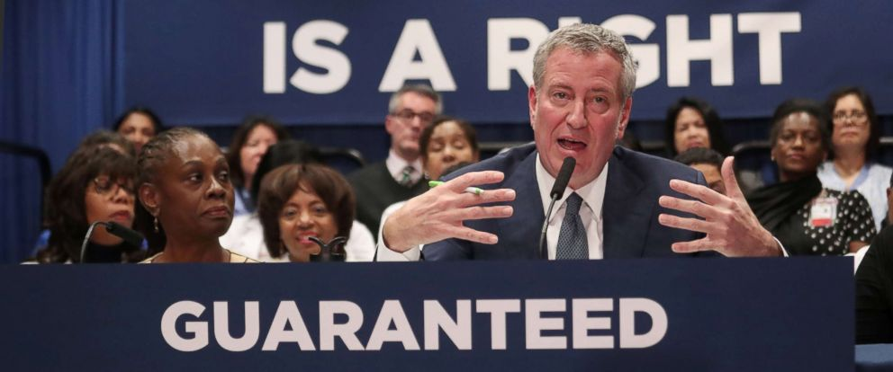 PHOTO: New York City Mayor Bill de Blasio speaks during a news conference at Lincoln Hospital in the Bronx borough of New York City, Jan, 8, 2019.