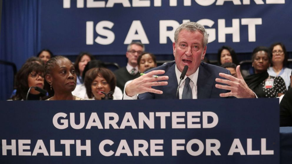 New York City Mayor Bill de Blasio speaks during a news conference at Lincoln Hospital in the Bronx borough of New York City, Jan, 8, 2019.