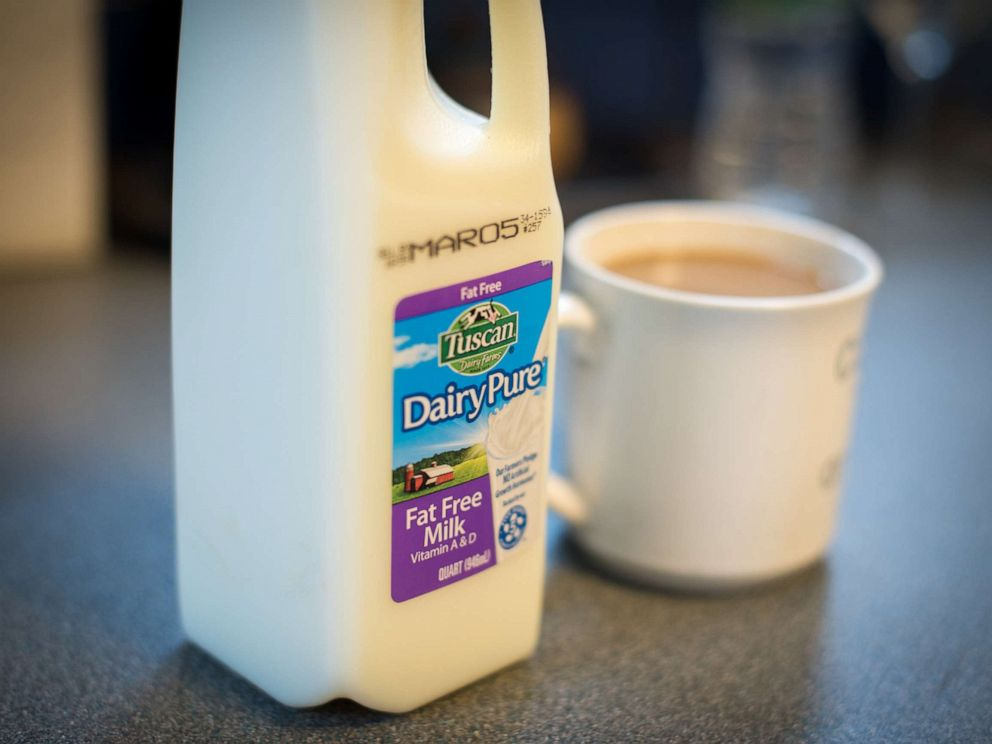 PHOTO: A container of Dean Foods Co. Dairy Pure brand fat free milk is displayed for a photograph in Dobbs Ferry, New York, Feb. 20, 2019.