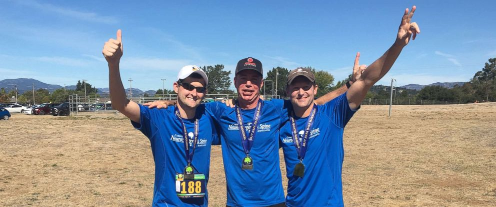 PHOTO: Dean Otto; Will Huffman, left, the driver of the truck; and Dr. Matt McGirt, the surgeon, participated in the Napa Half Marathon to celebrate Ottos rehabilitation.