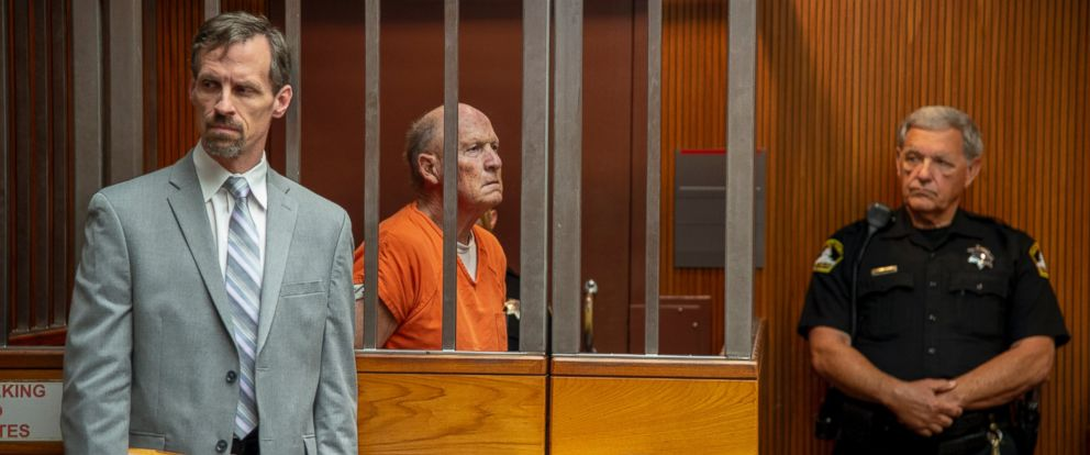 Defense attorney Joe Cress stands next to his client Joseph James DeAngelo appears in Sacramento Superior Court, Friday, June 1, 2018, in Sacramento, Calif. He is suspected in at least a dozen killings and roughly 50 rapes in the 1970s and 80s.