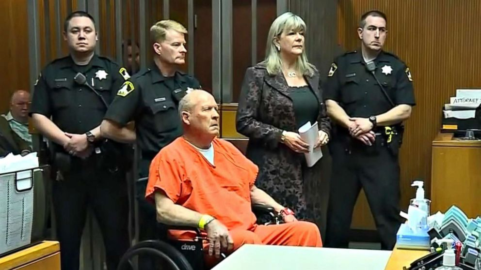 Joseph DeAngelo, accused of being the Golden State Killer in the 1970s and 1980s and the East Area Rapist, appears in a Sacramento, Calif. courtroom, April 27, 2018.