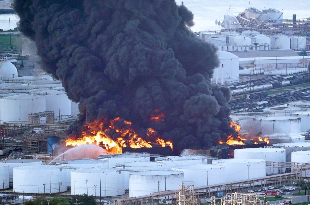 PHOTO: Firefighters battle a petrochemical fire at the Intercontinental Terminals Company, March 18, 2019, in Deer Park, Texas.