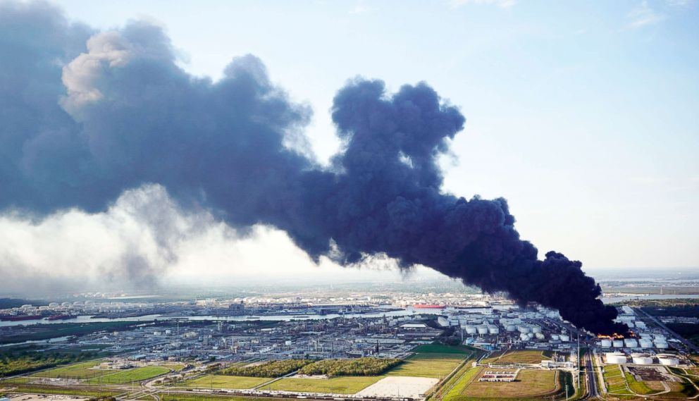 PHOTO: A plume of smoke rises from a petrochemical fire at the Intercontinental Terminals Company, March 18, 2019, in Deer Park, Texas.