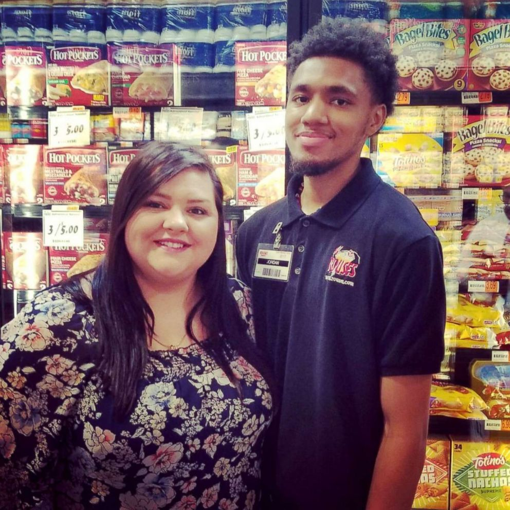 PHOTO: Delaney Edwards Alwosaibi thanked Jordan Taylor after her father sent her a video of Taylor, a supermarket worker, letting her brother help him stock items. Her brother Jack Ryan Edwards has autism.