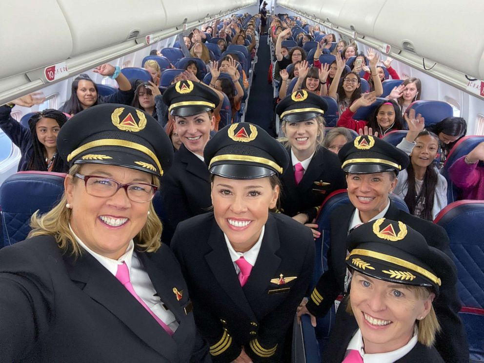 PHOTO: Delta celebrated International Girls in Aviation Day with its fifth-annual WING Flight, carrying 120 girls from Salt Lake City to NASA in Houston, Oct. 6, 2019.