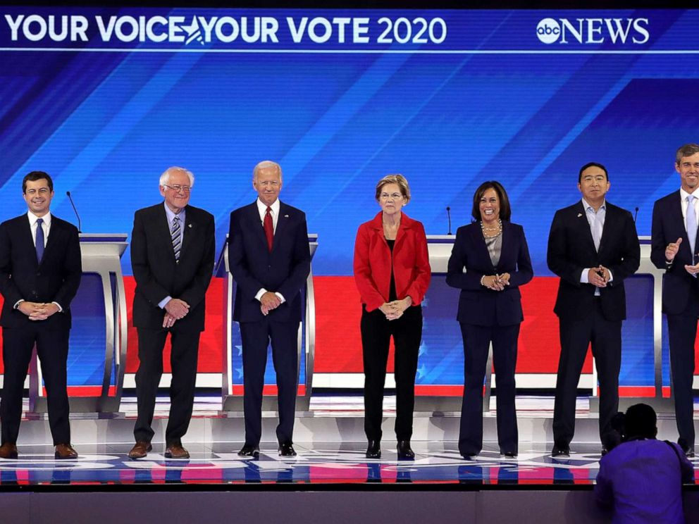 PHOTO: Democratic presidential candidates appear on stage before the start of the Democratic Presidential Debate at Texas Southern Universitys Health and PE Center on Sept. 12, 2019, in Houston.