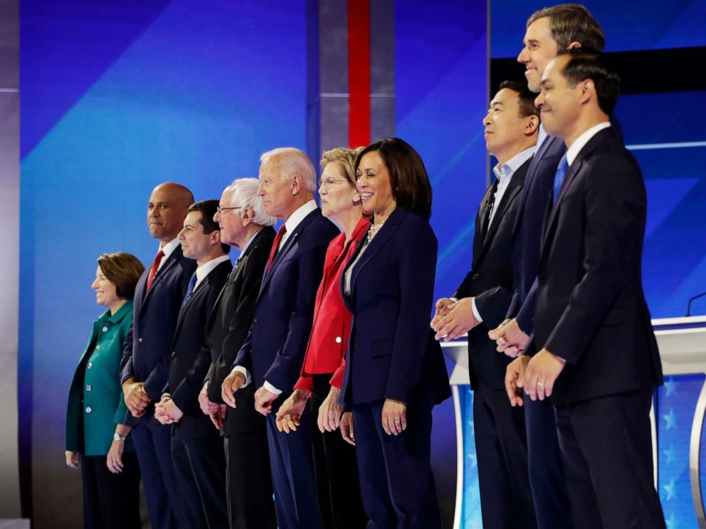 PHOTO: Democratic presidential candidates are introduced for the Democratic presidential primary debate hosted by ABC on the campus of Texas Southern University Thursday, Sept. 12, 2019, in Houston.