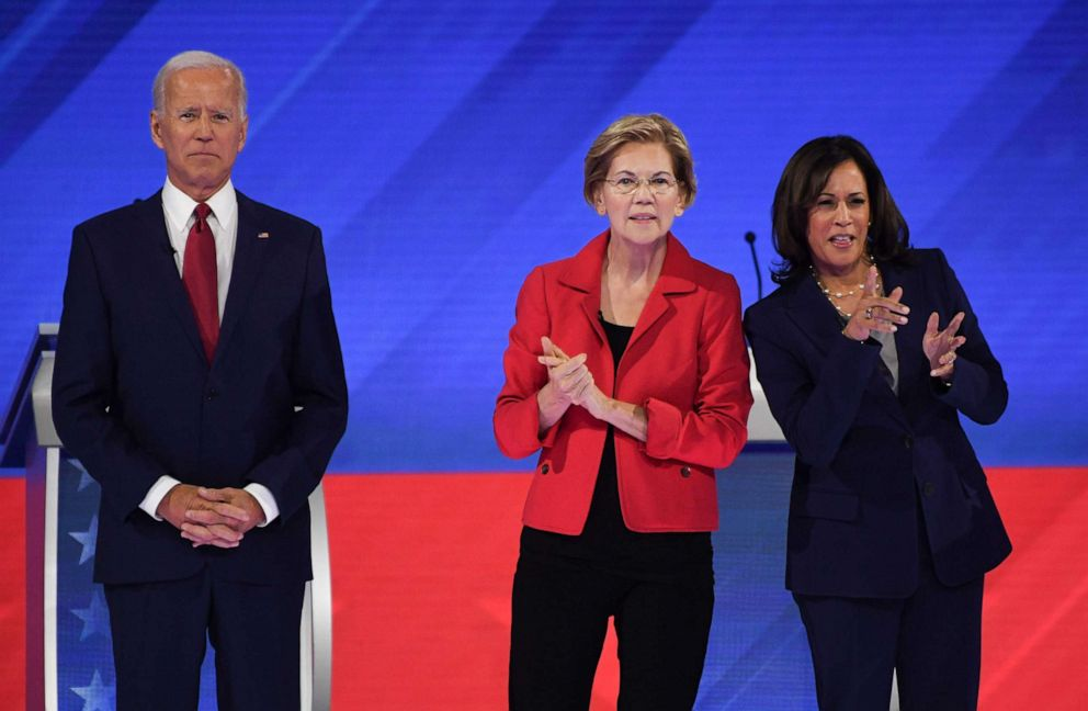 PHOTO: Democratic presidential hopefuls Joe Biden, Sen. Elizabeth Warren and Sen. Kamala Harris arrive on stage for the third Democratic primary debate of the 2020 presidential campaign season in Houston, Sept. 12, 2019.