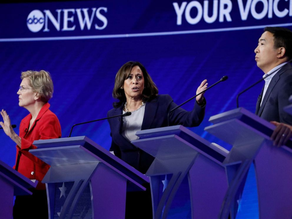 PHOTO: Democratic presidential hopefuls Sen. Elizabeth Warren, Sen. Kamala Harris and Andrew Yang participate in the third Democratic primary debate hosted by ABC News in Houston, Sept. 12, 2019.