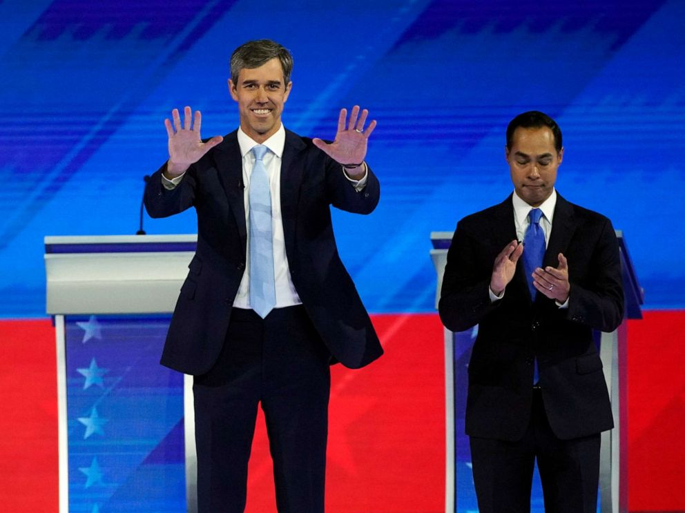 PHOTO: Former Texas Rep. Beto ORourke and former Housing and Urban Development Secretary Julian Castro take the stage on Sept. 12, 2019, during a Democratic presidential primary debate in Houston.