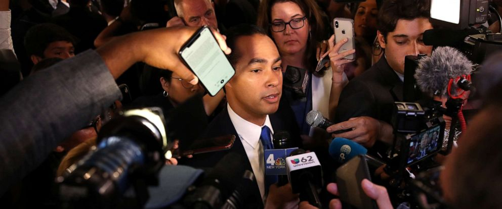 PHOTO: Democratic presidential candidate former housing secretary Julian Castro is interviewed by the media after the Democratic Presidential Debate on Sept. 12, 2019, in Houston.