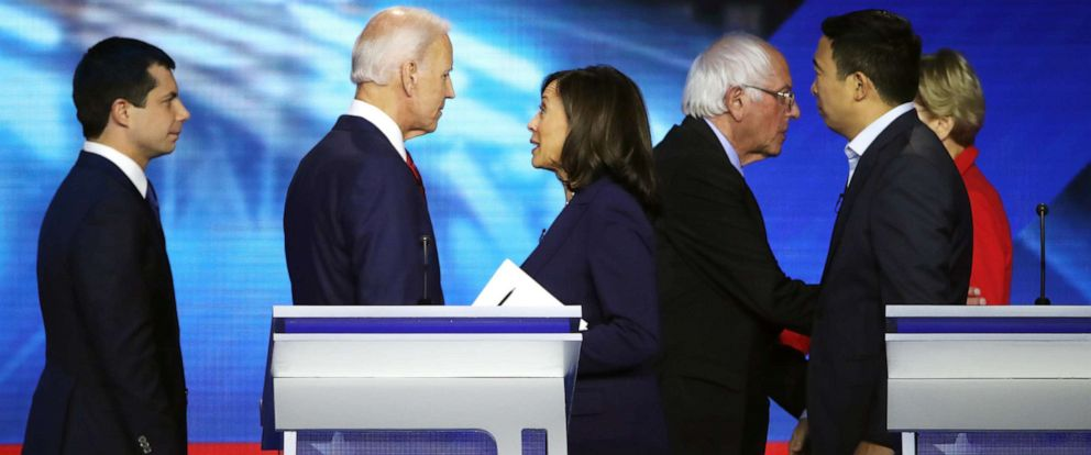 PHOTO: Democratic presidential candidates interact after the Democratic Presidential Debate at Texas Southern Universitys Health and PE Center on Sept. 12, 2019, in Houston.