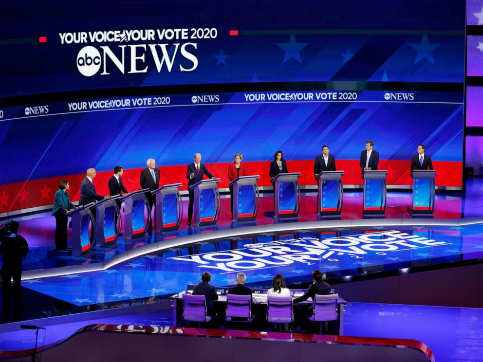 PHOTO: Democratic presidential candidates appear at the third Democratic Presidential Debate of the 2020 campaign season in Houston, Sept. 13, 2019.