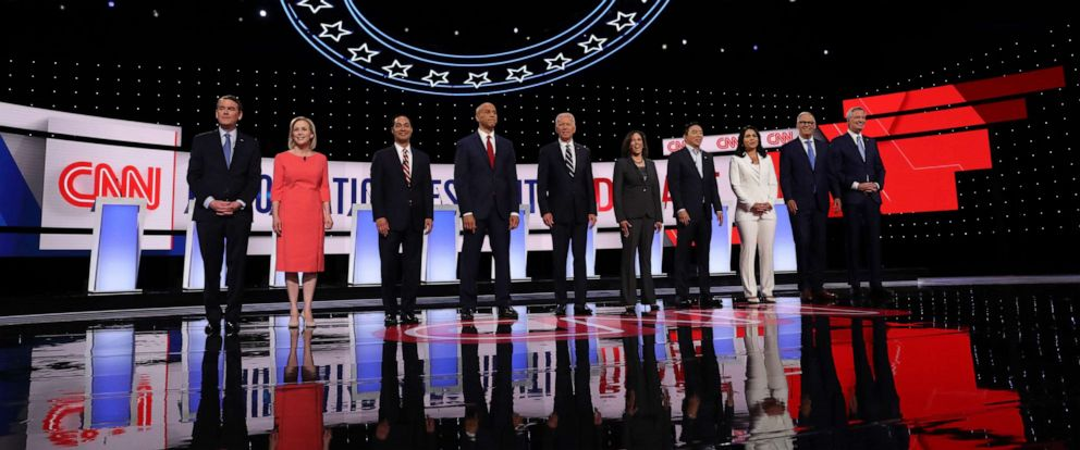 PHOTO: Democratic presidential candidates take the stage at the Democratic Presidential Debate at the Fox Theatre July 31, 2019, in Detroit.