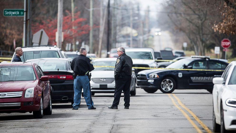 Police work a crime scene at Dennis Intermediate School at Richmond, Ind., Dec. 13, 2018.