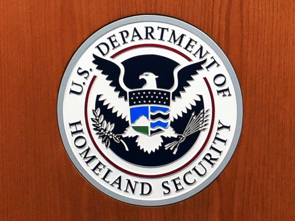 PHOTO: The seal of the US Department of Homeland Security in the US Customs and Border Protection Press Room at the Reagan Building in Washington, DC., March 6, 2017.