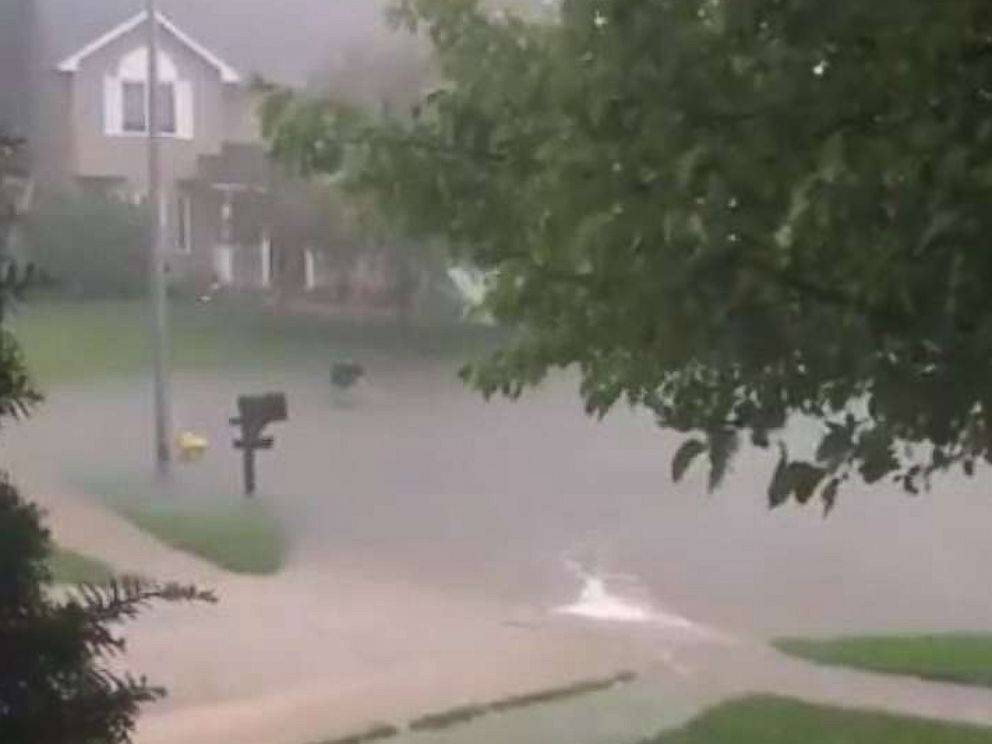 PHOTO: jeffjaeger2 shared video on Twitter showing the flood situation at his house in Johnston, Iowa, June 30, 2018.