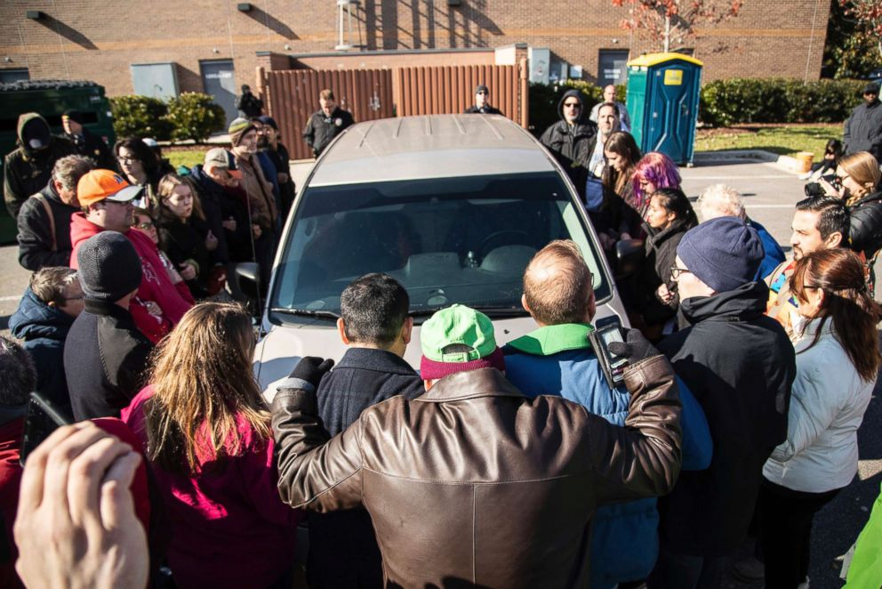 PHOTO: Demonstrators surround a government vehicle after Samuel Oliver-Bruno, 47, an undocumented Mexican national, was arrested after arriving at an appointment with immigration officials, Nov. 23, 2018, in Morrisville, N.C.