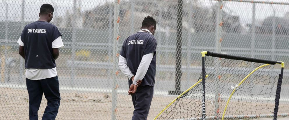 PHOTO: Detainees are seen at Otay Mesa immigration detention center in San Diego on May 18, 2018.