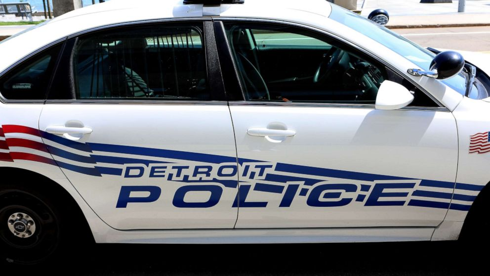 A Detroit Police car sits downtown in Detroit on May 24, 2018.