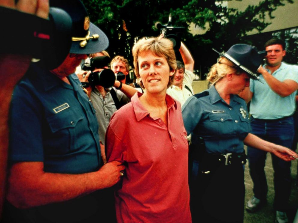 PHOTO: Elizabeth Diane Downs, the convicted childkiller who escaped July 11, 1987 from the womens prison in Salem, Ore., is escorted out of state police headquarters in Salem following her capture July 21, 1987.