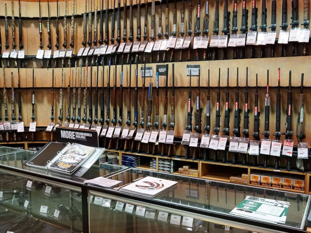 PHOTO: The gun department in a Dicks Sporting Goods store in Arlington, Va., March 1, 2018.
