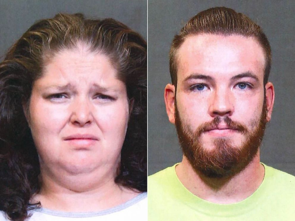 PHOTO: Emma Dietrich and Joshua Tennant in police booking photos.