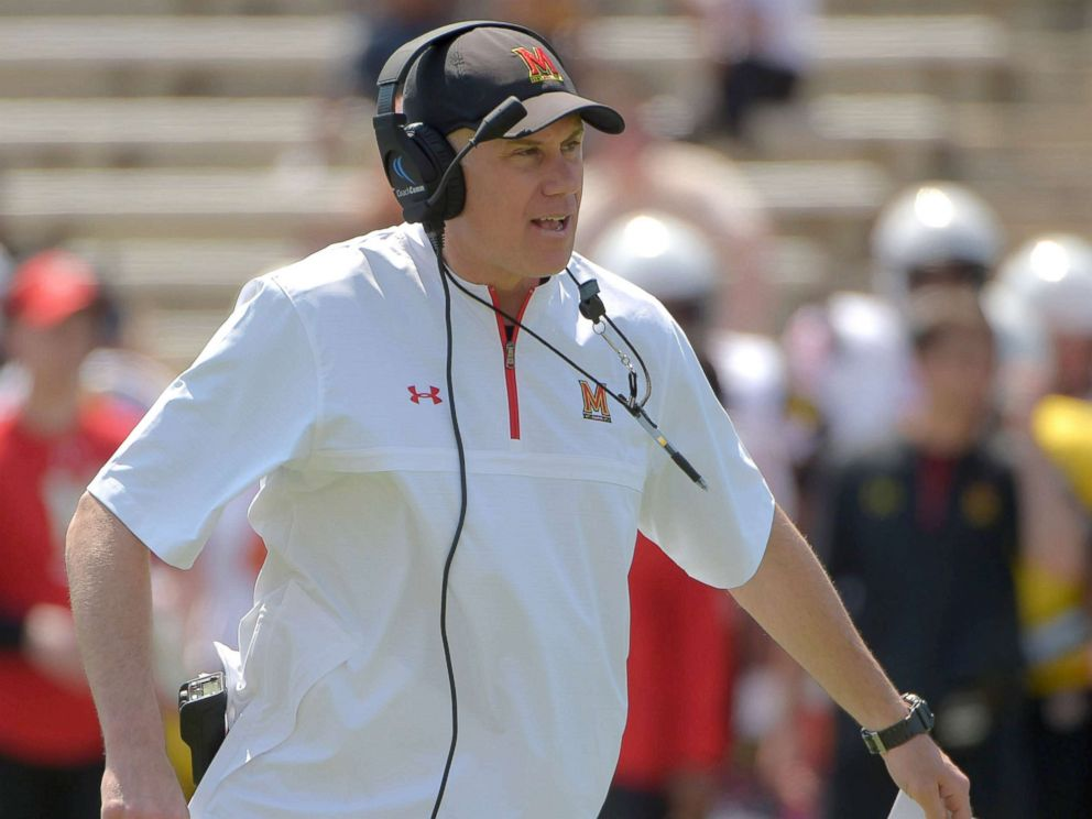 PHOTO: Maryland head coach D.J. Durkin during the Terrapins Spring Football Red/White game in College Park, Md., April 14, 2018.