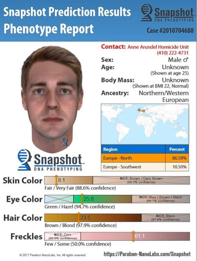 PHOTO: A composite made from a DNA sample helped Anne Arundel County Police solve a cold case.