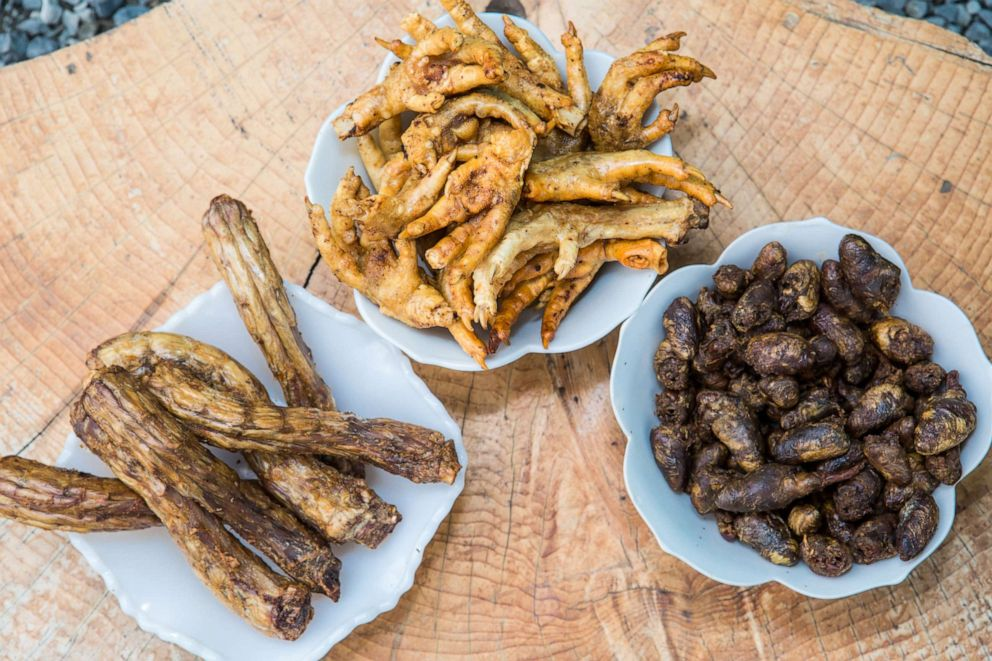 PHOTO: Some of the food The Seattle Barkery offers include chicken feet and air-popped chicken hearts.