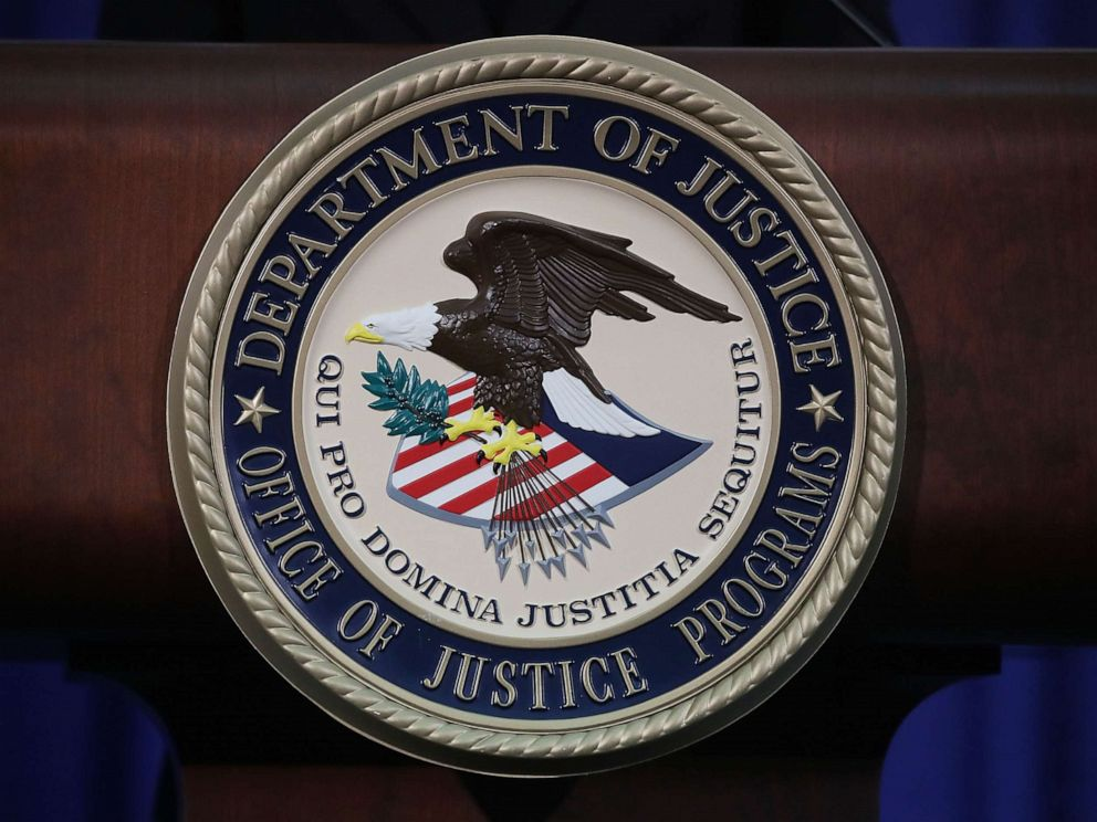 PHOTO: The Justice Department seal is seen on the lectern during a Hate Crimes Subcommittee summit on June 29, 2017 in Washington, DC.