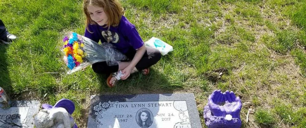 PHOTO: Tina Stewarts 8-year-old daughter, Addy, laid flowers at her mothers grave after she lost her life last Thanksgiving to domestic violence. Addy and her family visit Stewarts grave every Sunday.