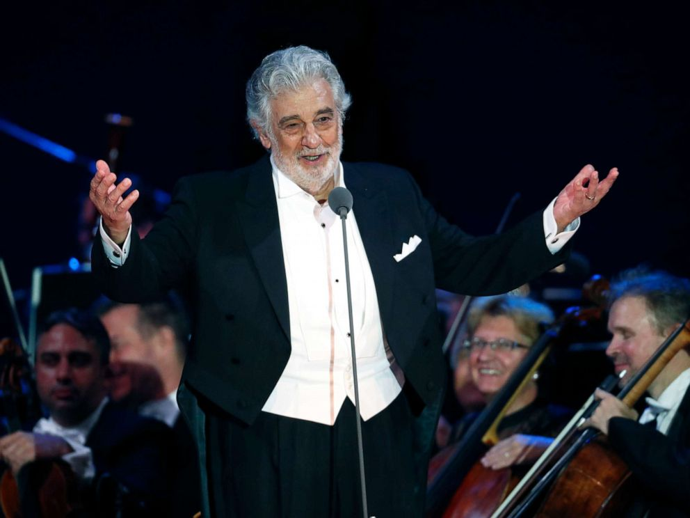 PHOTO: Opera star Placido Domingo salutes spectators at the end of a concert in Szeged, Hungary, Aug. 28, 2019.