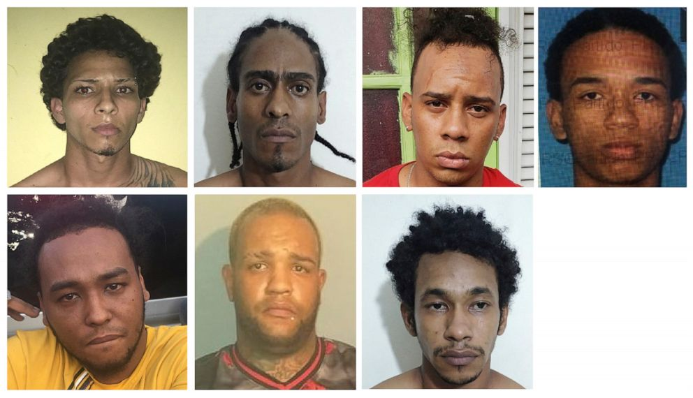 PHOTO: Photos provided by the Dominican Republic National Police, June 12, 2019 show the suspects detained in connection with the shooting of former Red Sox star David Ortiz in Santo Domingo, Dominican Republic.