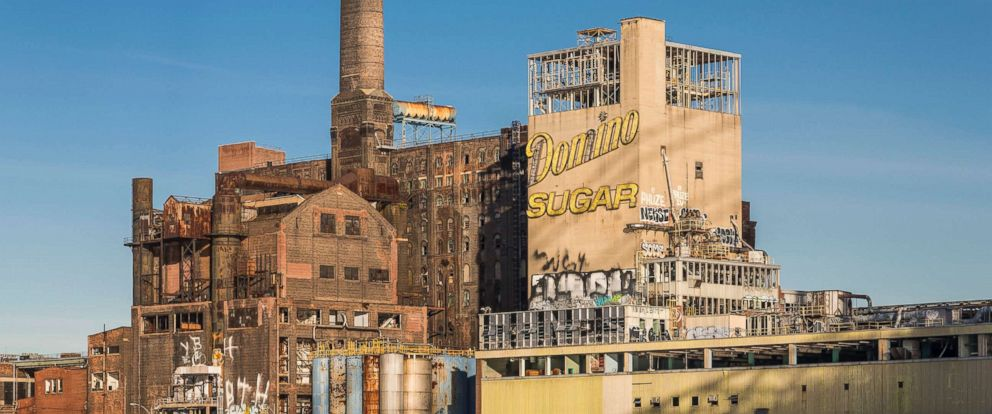 PHOTO: An exterior photo of the Domino Sugar Refinery from the East River, in Williamsburg, N.Y.