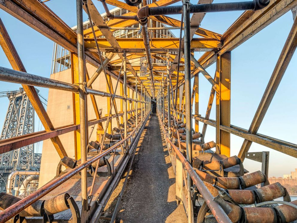 PHOTO: White sugar conveyor bridge, from finishing house to the top of bin structure.