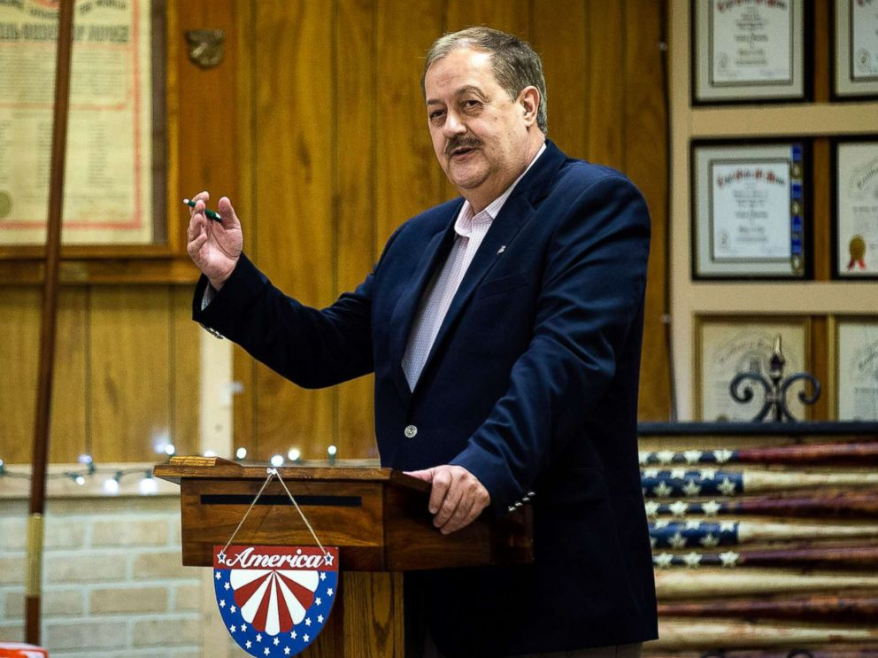 PHOTO: Don Blankenship, a former West Virginia coal mining executive and current Republican Senate candidate, campaigns in Keyser, W. Va., on April 20, 2018.