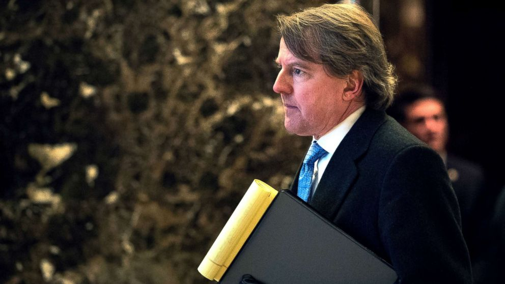 Don McGahn, White House Counsel to President-elect Donald Trump, arrives at Trump Tower in New York City, Jan. 9, 2017.