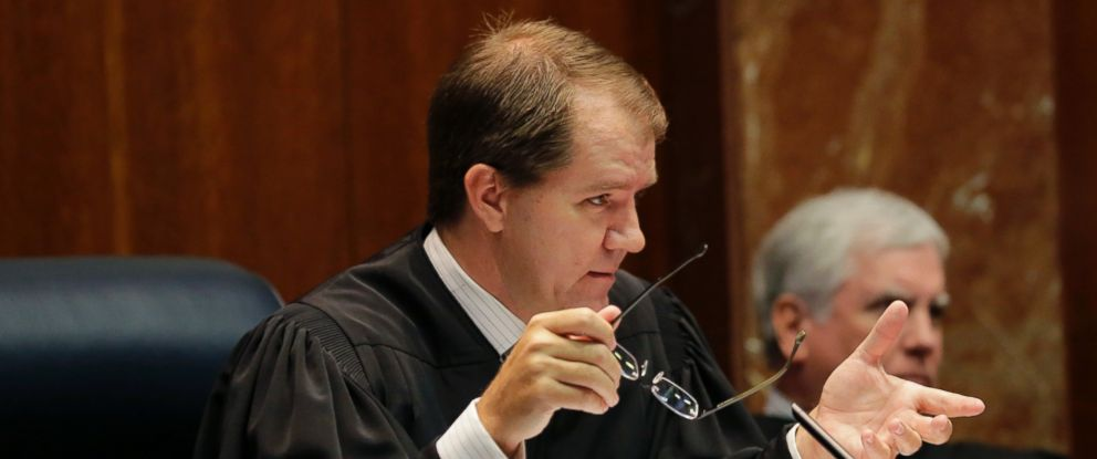 In this Sept. 1, 2015, file photo, then-Texas Supreme Court Justice Don Willett, left, asks a question during oral arguments at the state Supreme Court in Austin, Texas.