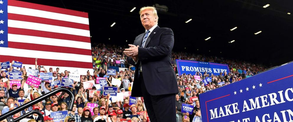 PHOTO: President Donald Trump arrives to speak at a rally in Billings, Mont., Sept. 6, 2018.