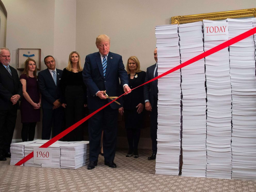 PHOTO: President Donald Trump uses scissors to cut a red tape tied between stacks of papers representing government regulations of the 1960s and today after he spoke about his efforts in deregulation in the White House in Washington, Dec. 14, 2017.