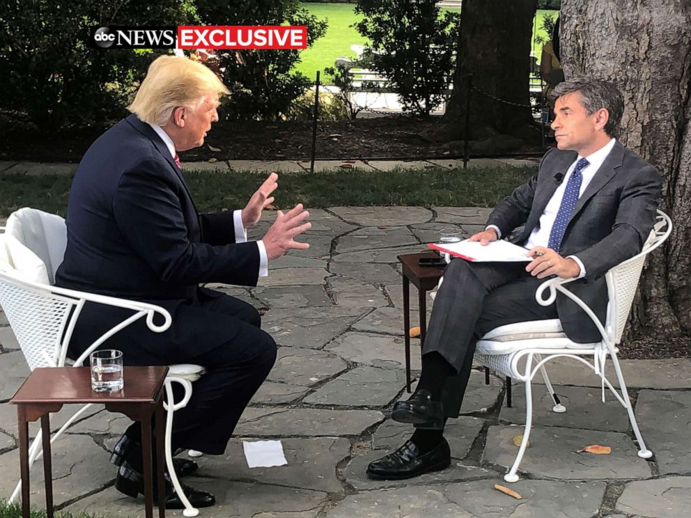 PHOTO: ABC News GEORGE Stephanopoulos Jaydo55 With  Donald Trump at the White House in Washington,  12, 2019.
