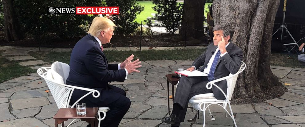 PHOTO: ABC News George Stephanopoulos talks with President Donald Trump at the White House in Washington, June 12, 2019.