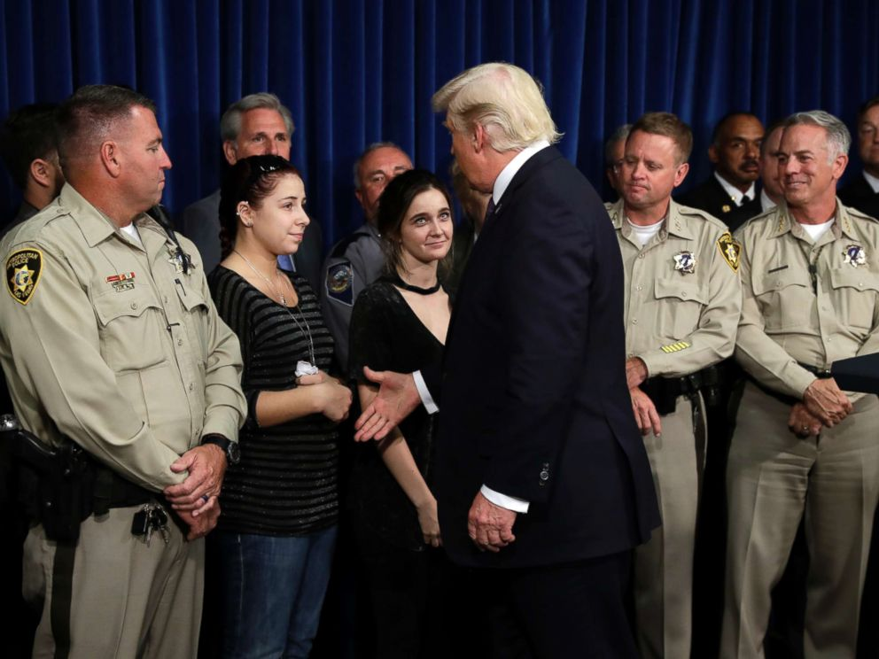 PHOTO: President Donald Trump meets with first responders and private citizens that helped during the mass shooting, Oct. 4, 2017, in Las Vegas.