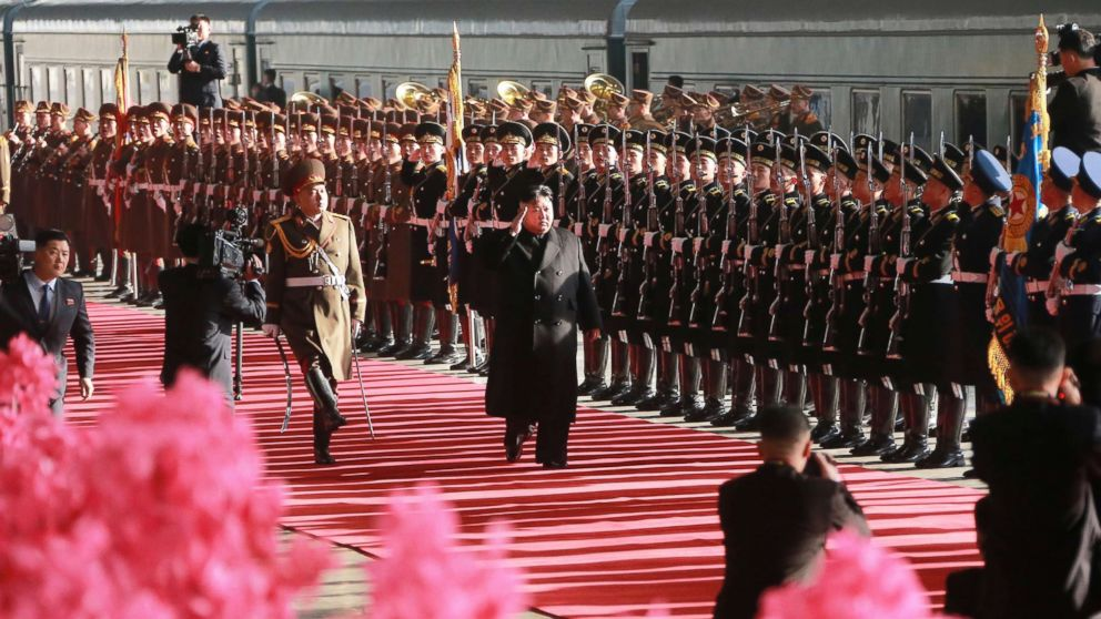 Kim Jong Un top leader of the Democratic People's Republic of Korea, attends a ceremony which saw him off at Pyongyang Railway Station in Pyongyang.