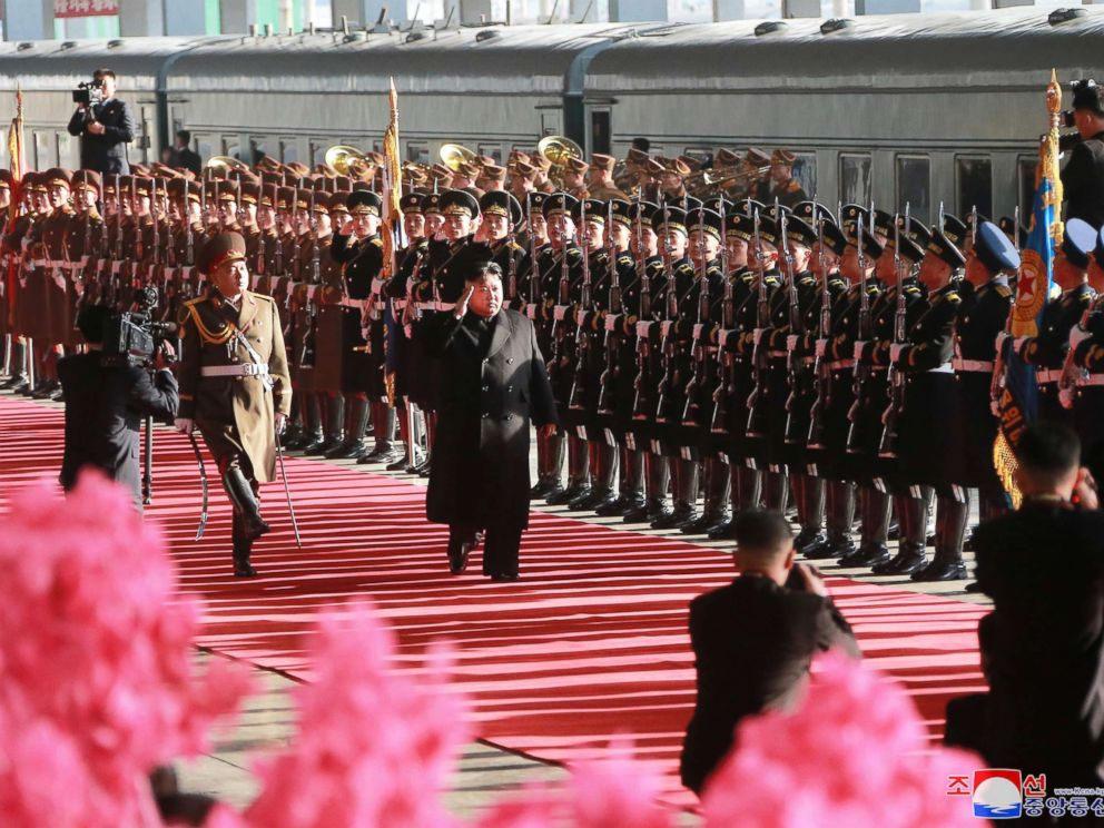PHOTO: Kim Jong Un top leader of the Democratic Peoples Republic of Korea, attends a ceremony which saw him off at Pyongyang Railway Station in Pyongyang.
