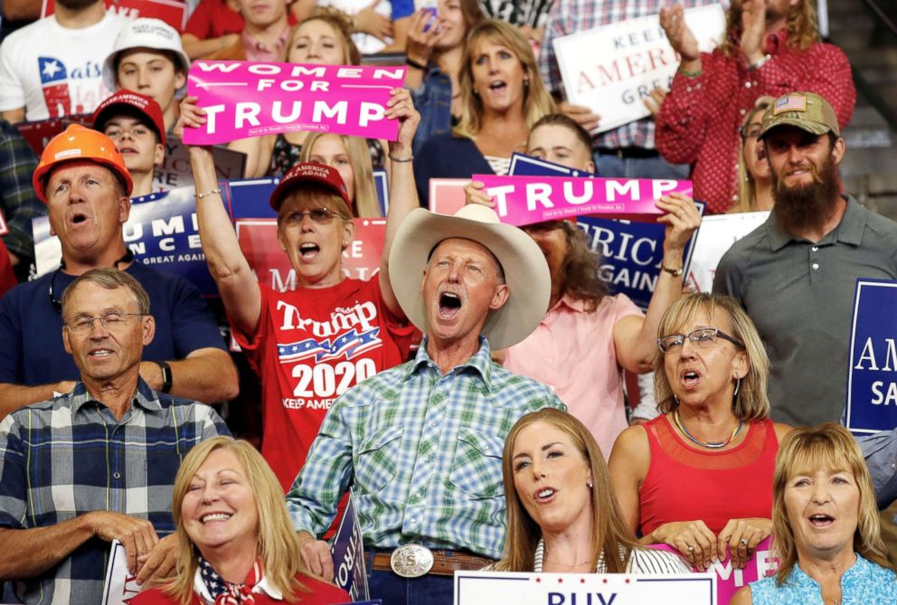 PHOTO: Supporters react during President Donald Trumps Make America Great Again rally in Billings, Mont., Sept. 6, 2018.