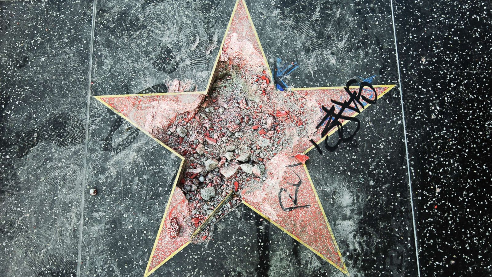 trump s hollywood walk of fame star destroyed again abc news