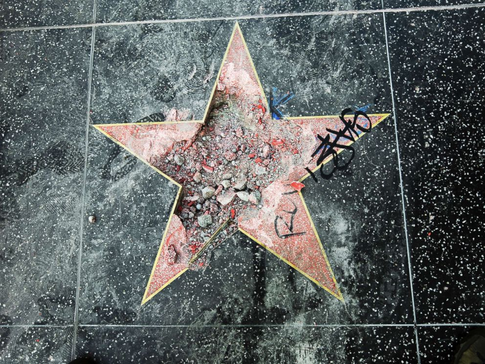 PHOTO: This photo shows Donald Trumps star on the Hollywood Walk of Fame that was vandalized, July 25, 2018, in Los Angeles.